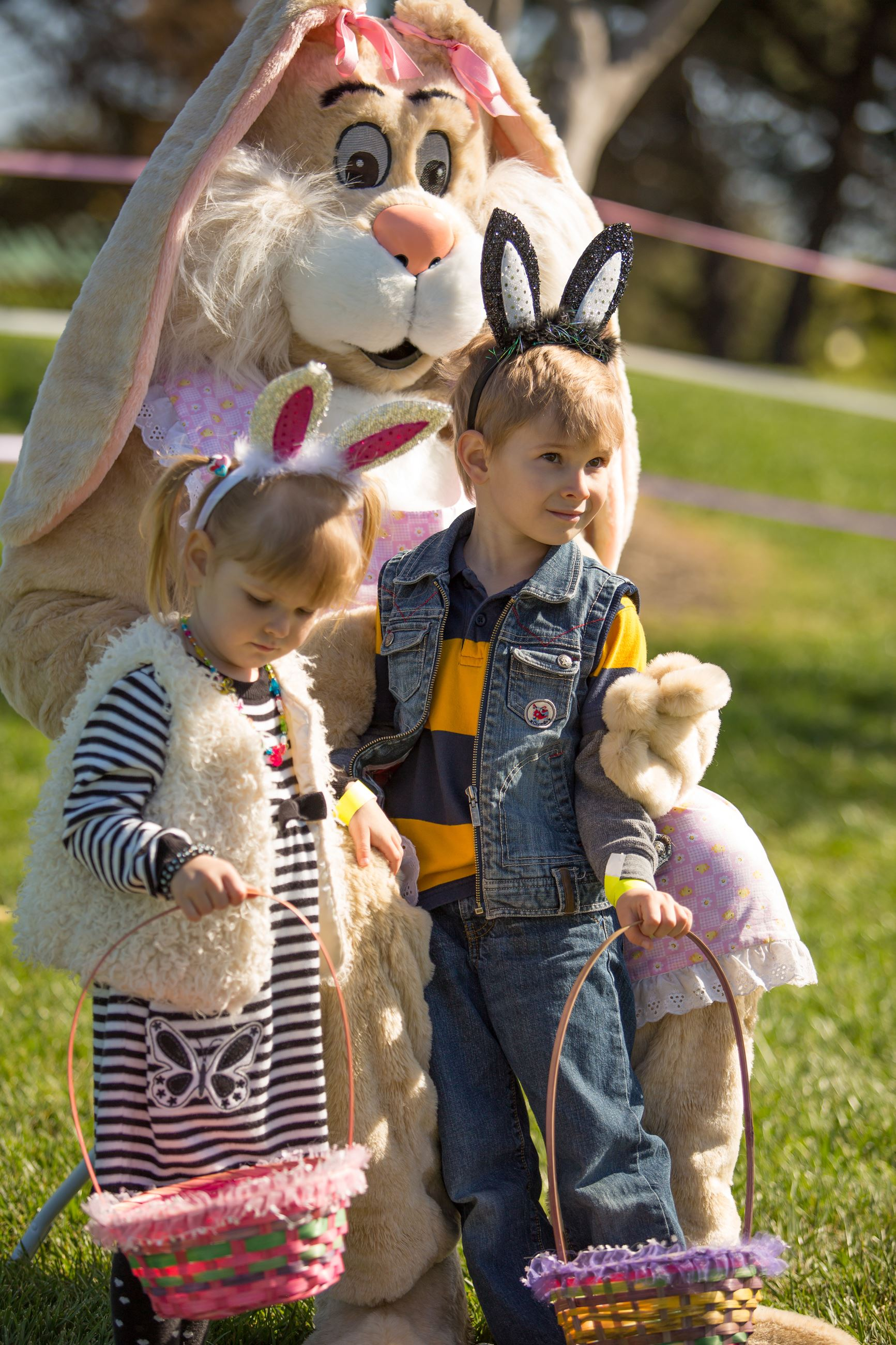 Boy and girl with Easter Bunny