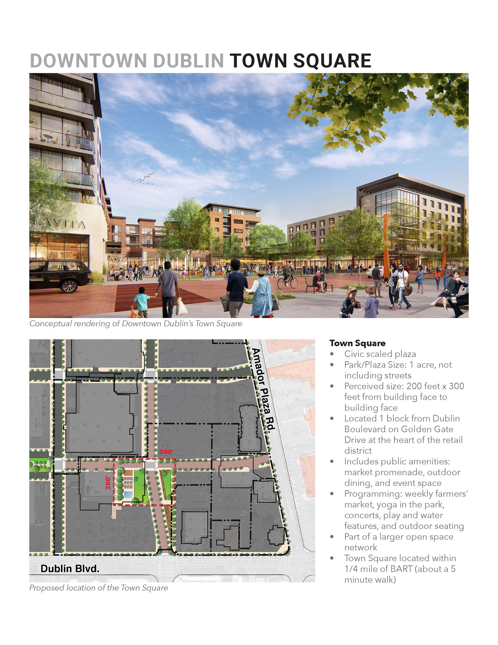 Adopted Downtown Dublin Preferred Vision - Rendering of Town Square
