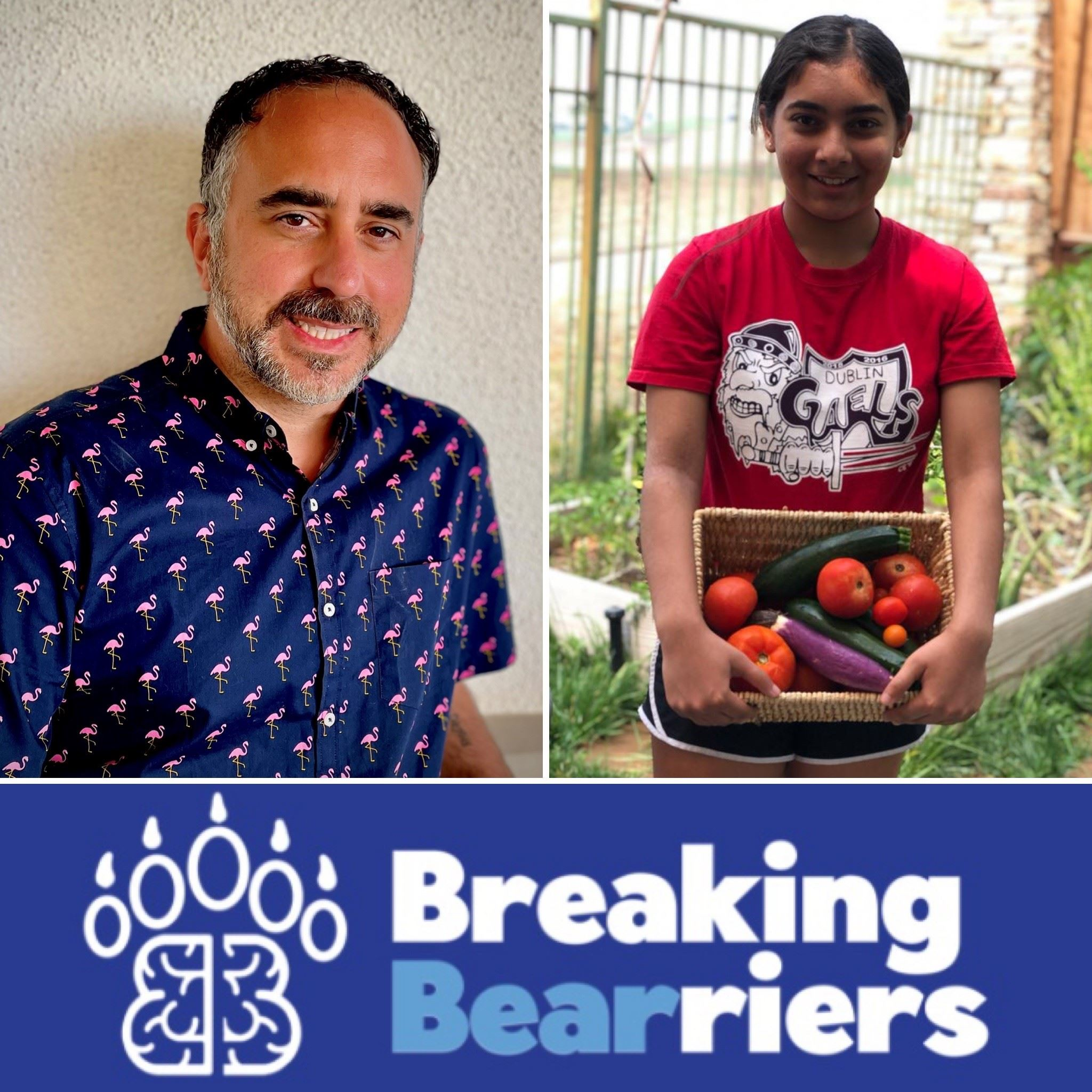 Volunteer Recogniton Award winners: Michael D'Ambrosio, Anya Sengupta, and a Breaking Bearriers l