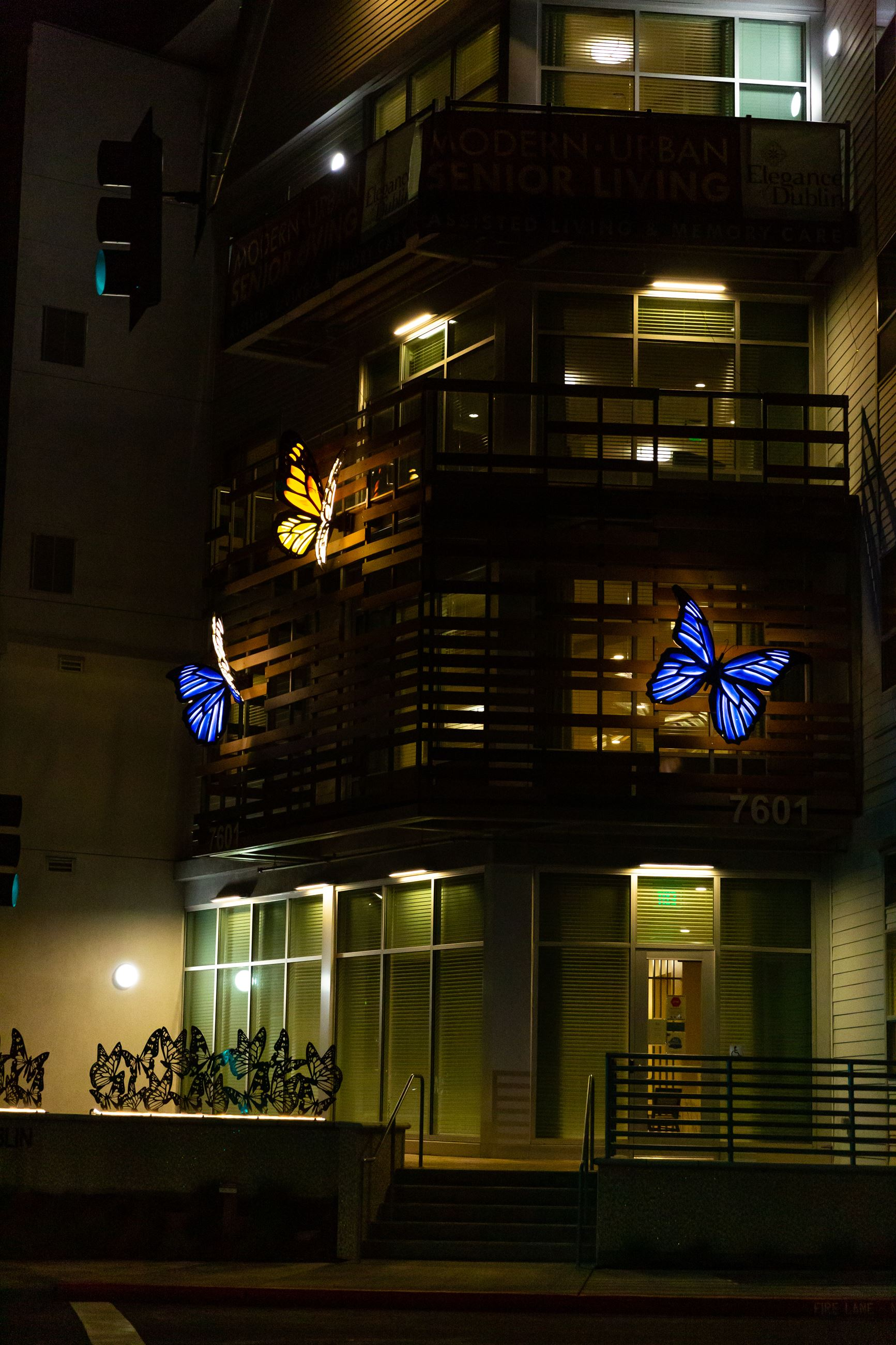night photo of three large butterflies fixed to an apartment building backlit with lights