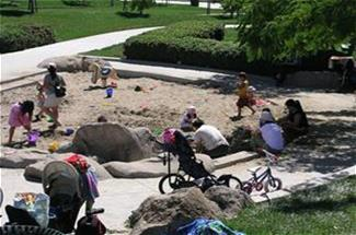 Kids in sandbox at park